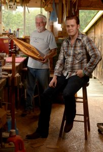 Walter Messick, left, and Chris Testerman in Messick's Baker's Branch workshop. Pat Jarrett/The Virginia Folklife Program