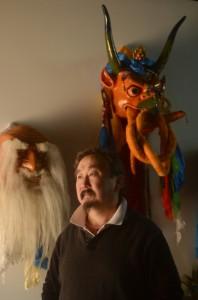 "Gankhuyag ""Ganna"" Natsag  photographed with some of his masks. (Pat Jarrett/The Virginia Folklife Program)"