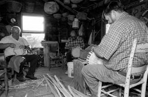 Sam Cave, James Moore, and Clyde Jenkins make white oak baskets. Photo by Morgan Miller/Virginia Folklife Program.