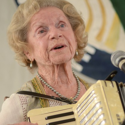 Flory plays her Flory Jagoda performed with her restored accordion after Dale Wise presented it to her on stage. Photo by Pat Jarrett/VFH Staff