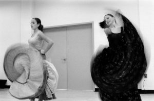 Arial Hobza-Ortiz learns dance moves from her mother Laura Ortiz. Photo by Morgan Miller/Virginia Folklife Program.