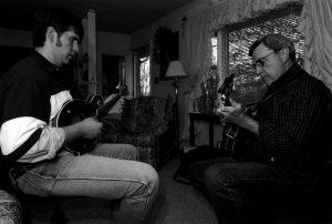 Mandolin apprentice Spencer Blankenship with master Herschel Sizemore (photo by Morgan Miller/Virginia Folklife Program)