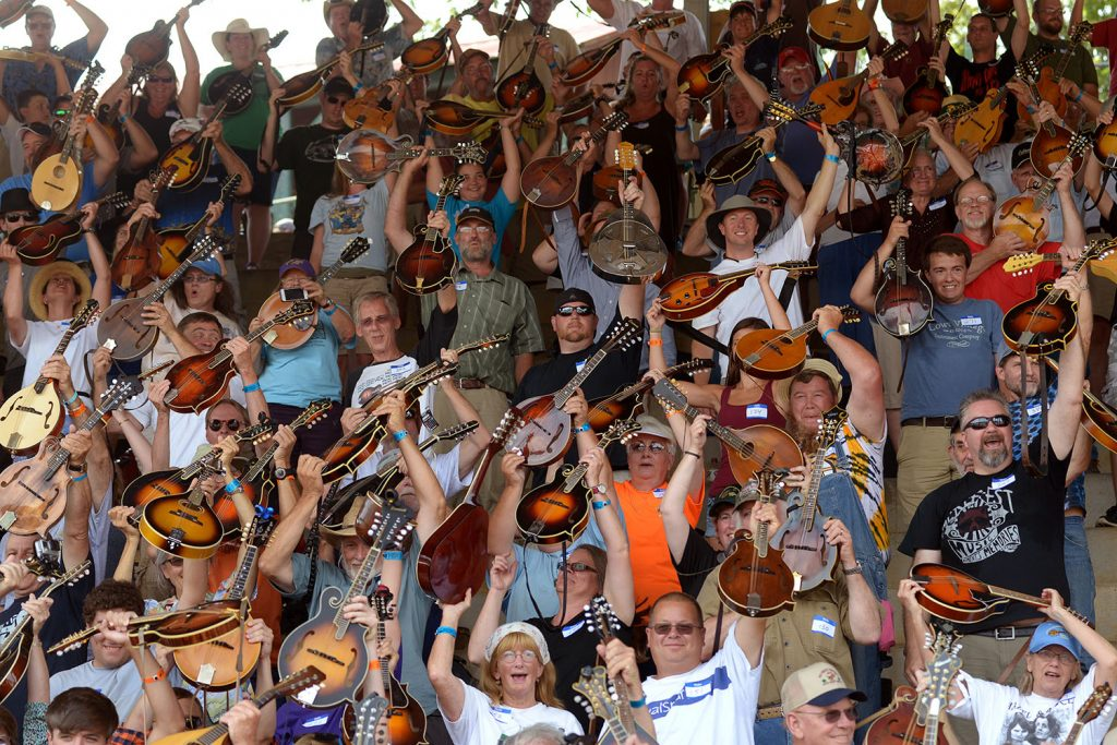 Four hundred and ninety-three mandolin players attempted to take back the Guinness World Record for Largest Mandolin Ensemble at the 80th Old Fiddlers Convention in Galax on Tuesday, 8/4/15. Pat Jarrett/The Virginia Folklife Program