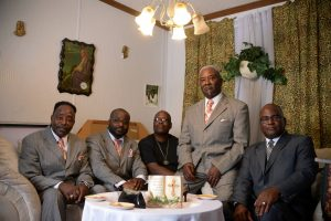The Hurdle Brothers with Reverend Tarrence Paschall (photo by Pat Jarrett/Virginia Folklife Program)