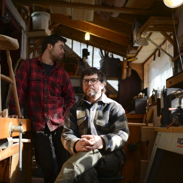 """Master chair maker Sean """"Purl"""" Samoheyl, right, runs the chair shop at the Twin Oaks Intentional Community in Louisa, Virginia. His apprentice David Rogers works in the shop with him on Sunday 1/19/14."""